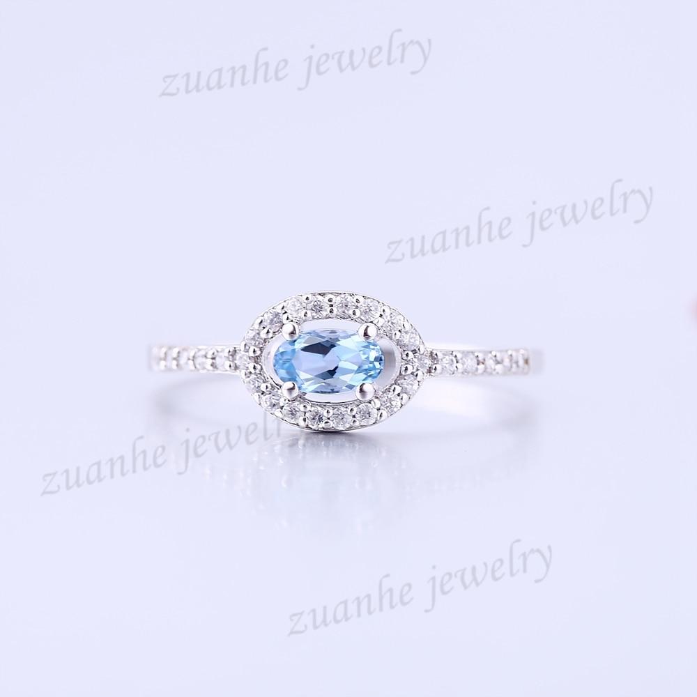 Nice Sky Blue Topaz Solid 14k White Gold Natural Diamond Engagement Wedding Ring solid 14k rose round 13mm gold diamond natural blue topaz ring wedding ring hot sale