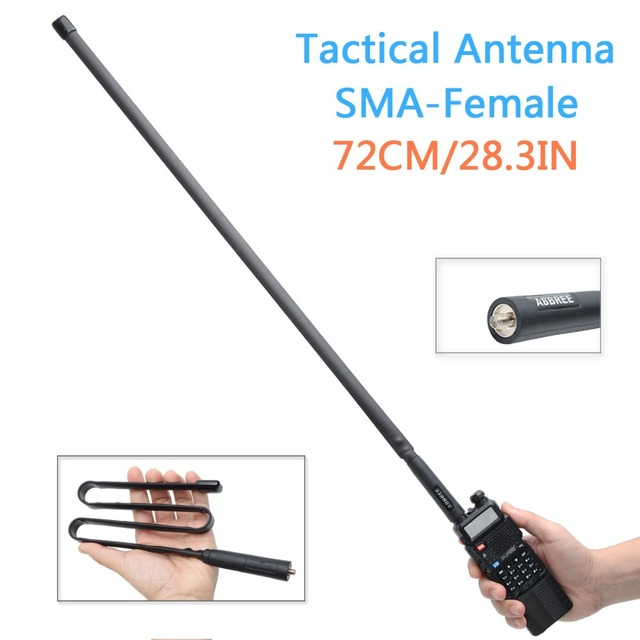 ABBREE 72CM/28.3IN Foldable Army CS Tactical SMA Female VHF UHF Dual Band Antenna For Walkie Talkie Baofeng UV 82 UV 5R BF 888S