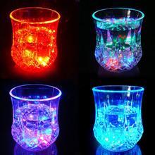 Красочный Светодиодный светильник со светящимися чашками для вина и виски, стеклянная кружка для бара, вечерние чашки для напитков и ночного напитка