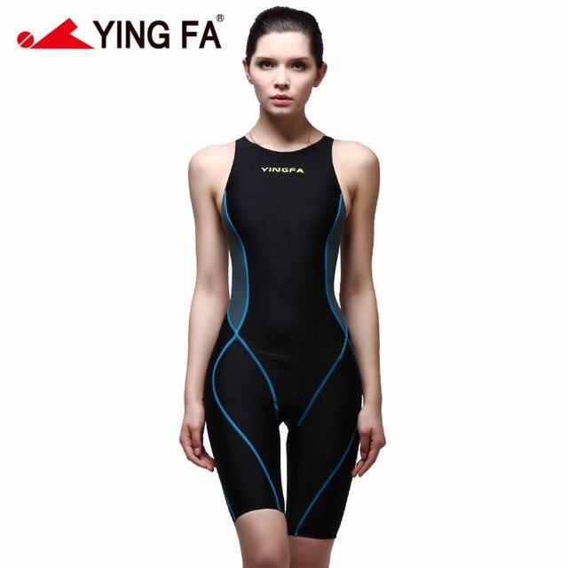 46dea6caddf73 Yingfa 953 new Professional Women Swimsuit One Piece Swimwear Racing  Competition Tights Sharkskin SharkSkin knee swimsuit
