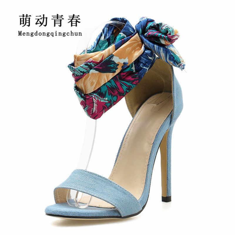 Лидер продаж, летние модные женские сандалии Для женщин Ремешок на щиколотке синего джинсового цвета черный Для женщин пикантные туфли на высоком каблуке со шнуровкой вечерние римские туфли-лодочки
