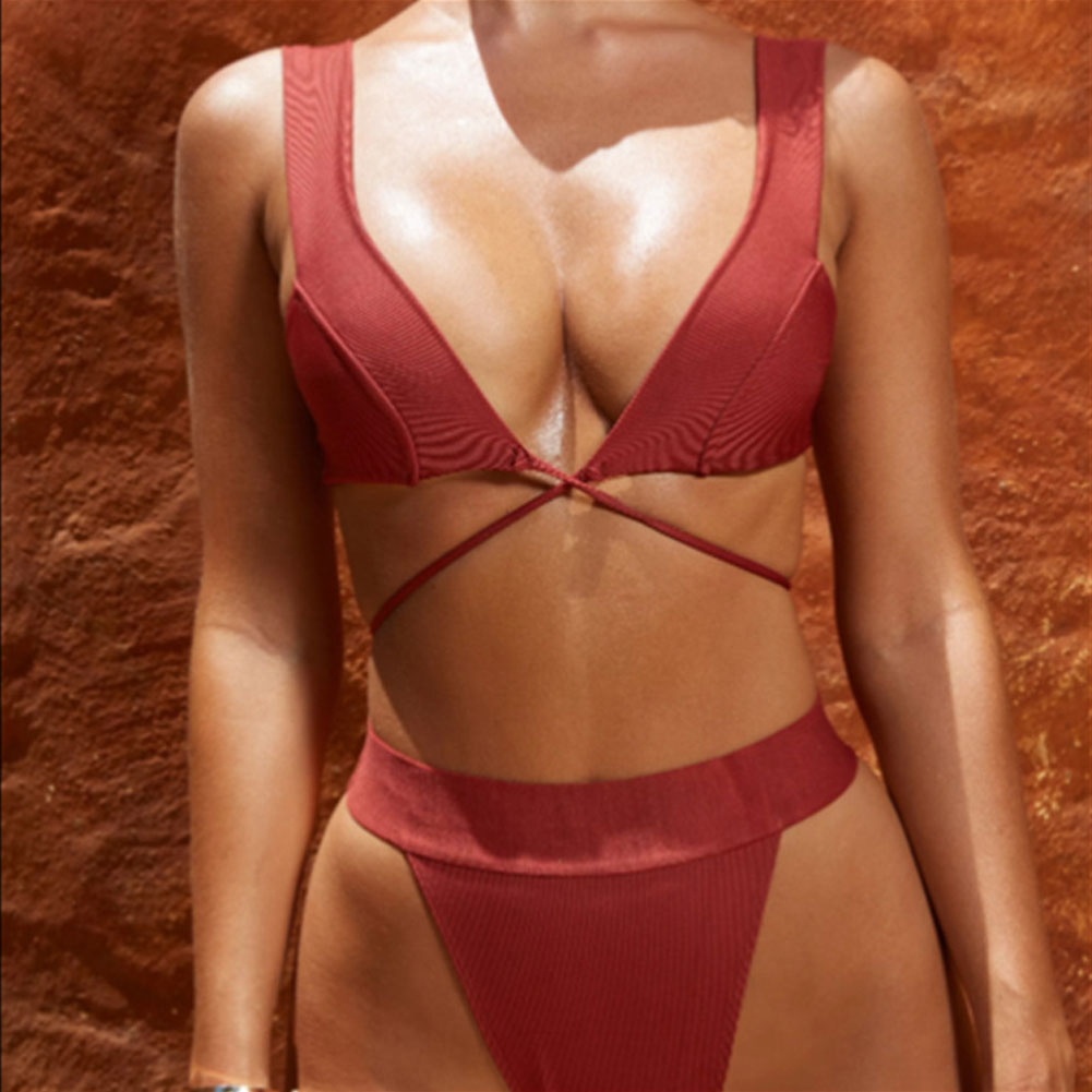 HTB1cbKYbiLrK1Rjy1zdq6ynnpXaK 2019 New Style Fashion Hot Solid Women Push-up Bandage Padded Bra Bandage Bikini Set Swimsuit Triangle Swimwear Bathing