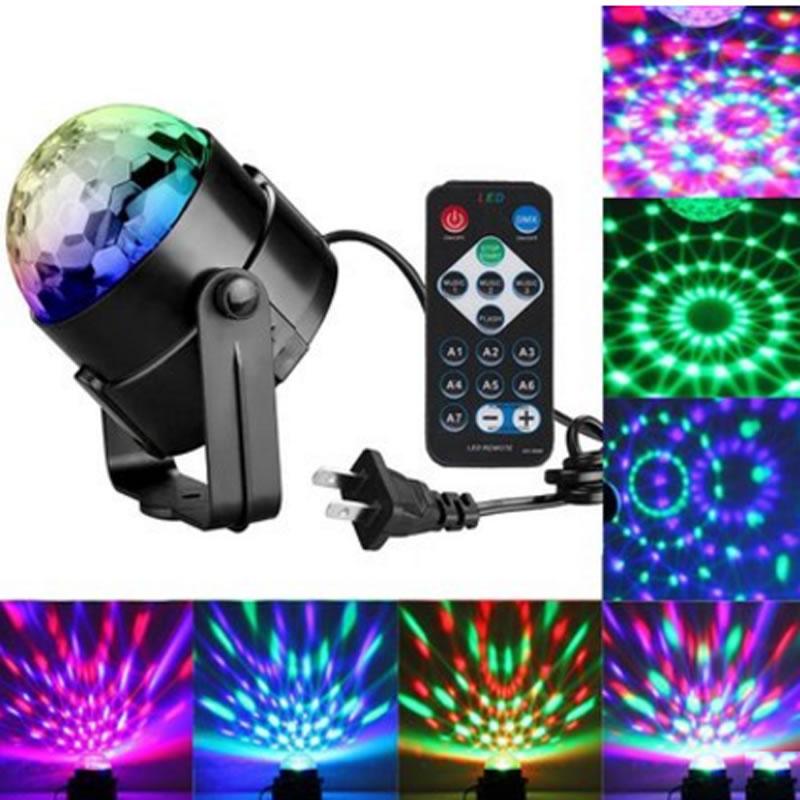 110V  220V AC  Led Light Bulb RGB Disco Party Magic Ball Dj Stage Club Remote Control Rotating mini rgb led party disco club dj light crystal magic ball effect stage lighting
