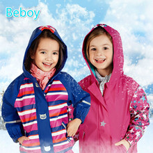 Multi function Little Kid Girls PU Fleece Jacket Windbeaker Waterproof Ski Rain Jacket Safe Reflective font