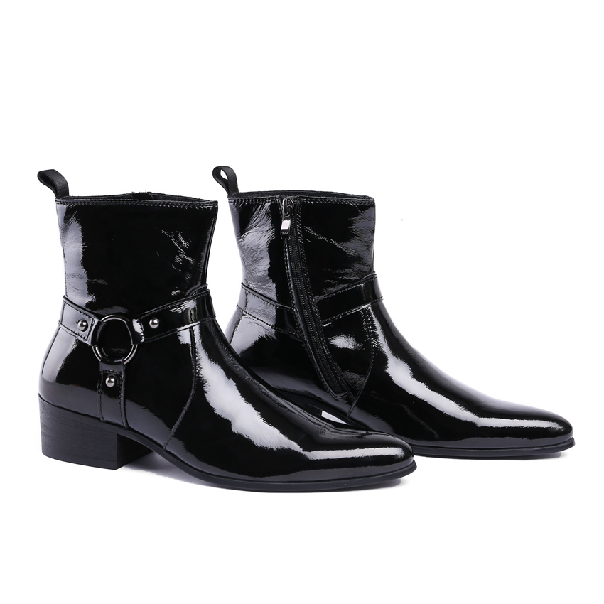 Style Pointu Noir Haute Bottes Main Cheville Cowboy Ymx215 Moto En Chaussures Mariage De Chelsea Italien haut Homme Bout Verni La Cuir Hommes OiTZkPXu