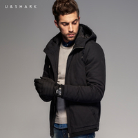 Luxury U Shark Retro British Style Black Hooded Windproof Jacket Men Winter Coat Manteau Homme 2016