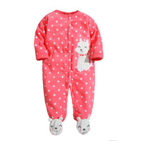 New 2017 Autumn Spring Baby Rompers Clothes Long Sleeved Newborn Boy Girls Polar Fleece Baby Jumpsuit