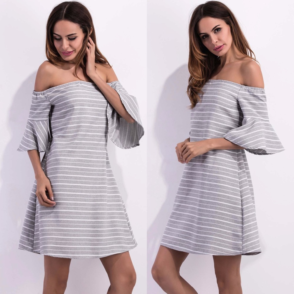 Compare prices on bell sleeve maternity dress online shoppingbuy fashion women 34 bell sleeve striped off the shoulder a line casual dress ombrellifo Images