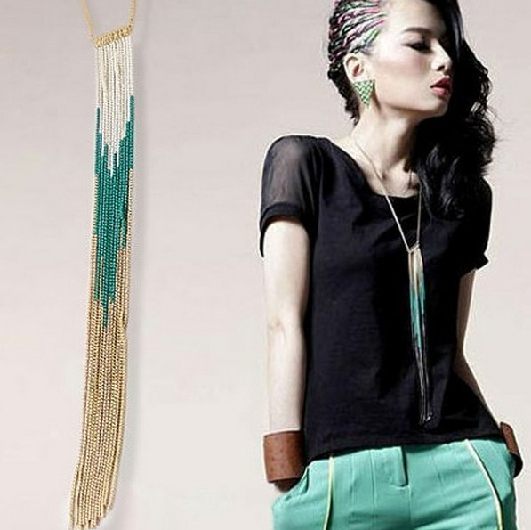 Min order $18 (Can mix item ) Fashion  tassel beads chain necklace