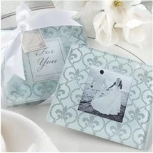 2pcs Set Classic Glass Coasters Photo Frame Wedding Favors Gifts 60sets