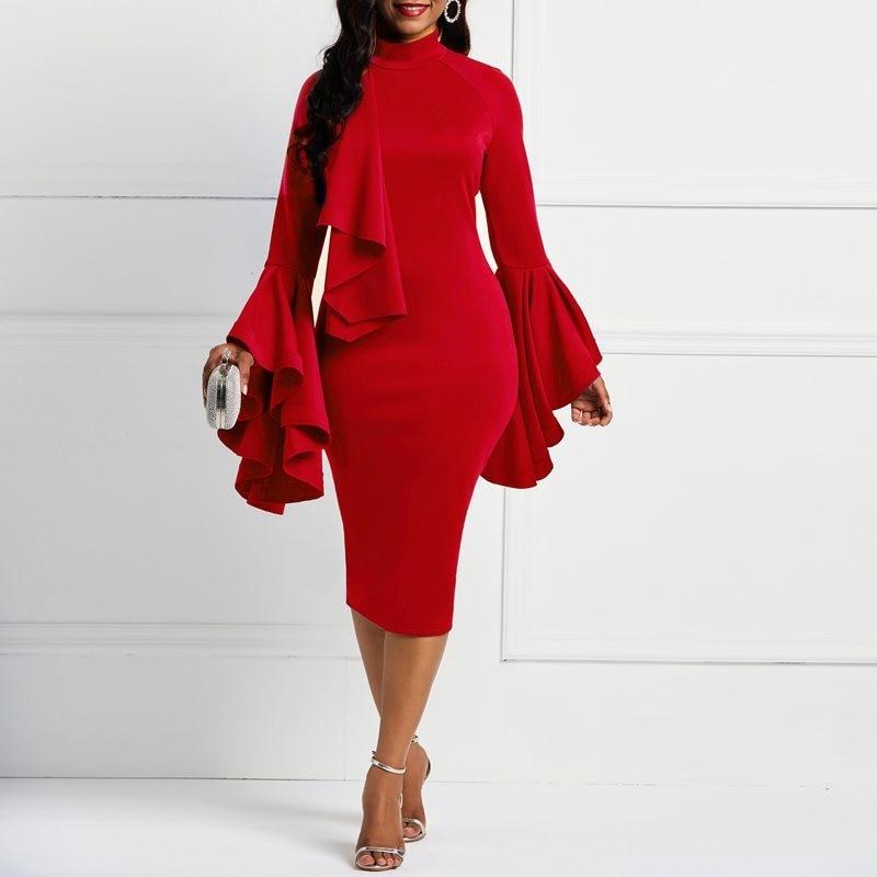 91ab1040853 Women Midi Dresses Elegant Red Simple Plus Size Bodycon Flare Sleeve Plain  Falbala Patchwork Split Female