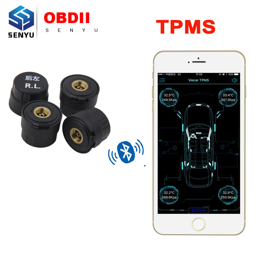 Newest Bluetooth 4 0 TPMS Car Tire Tyre Pressure Monitoring System for Android IOS With 4