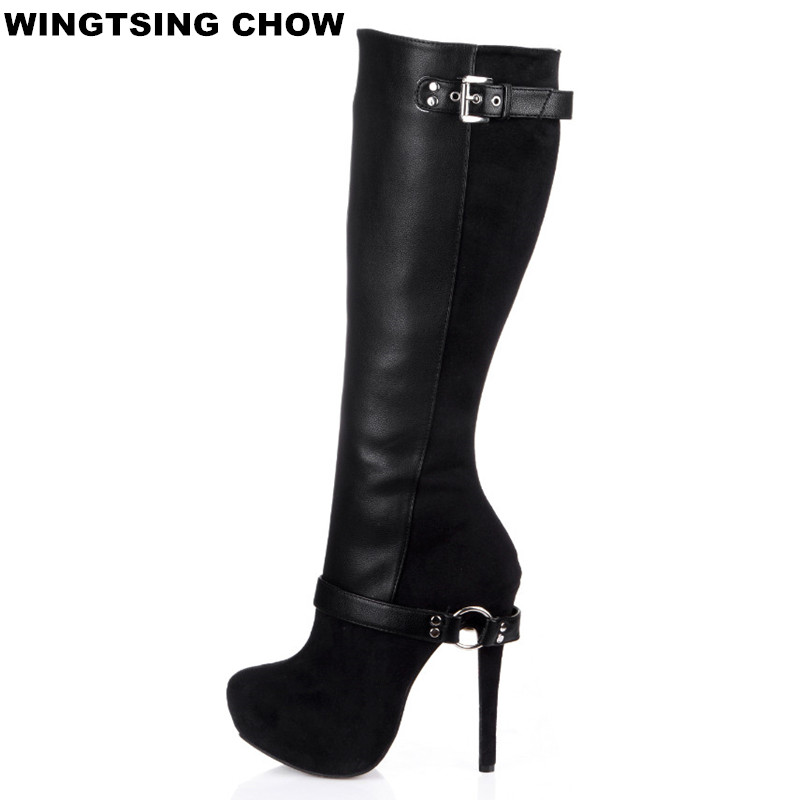 New Buckle Over The Knee Boots Women Winter Shoes Sexy High Heels Comfort Platform Shoes Leather Women High Boots hellozebra women rain boots lady high shoes platform eva boots printing leather low heels waterproof buckle wearable appliques