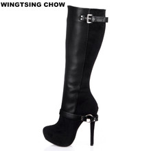 New Buckle Over The Knee Boots Women Winter Shoes Sexy High Heels Comfort Platform Shoes Leather Women High Boots