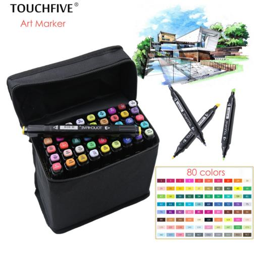 TouchFIVE 36/40/60/80 Colors Drawing Marker Pen Animation Sketch Art Markers Set For Artist Manga Graphic Based Markers Brush 36 colors set 0 4mm fine liner colored marker pens watercolor based art markers for manga anime sketch drawing pen art supplies