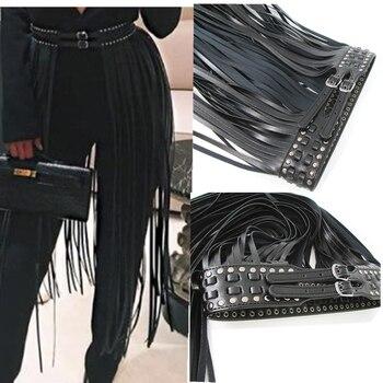 Europe fashion Punk rivet wearing rope long tassel girdle female Black Leather Belt wild for women High Waist belt Decorative