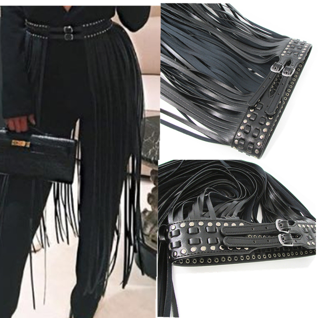 Europe fashion Punk rivet wearing rope long tassel girdle female Black Leather Belt wild for women High Waist belt Decorative