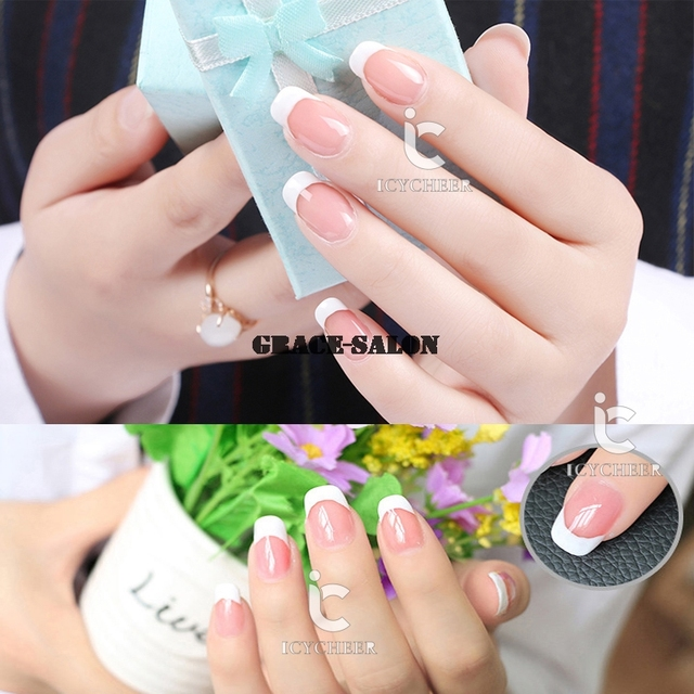 ICYCHEER Nail Art Gel Vanish Nude Neutral Naked French Manicure UV ...