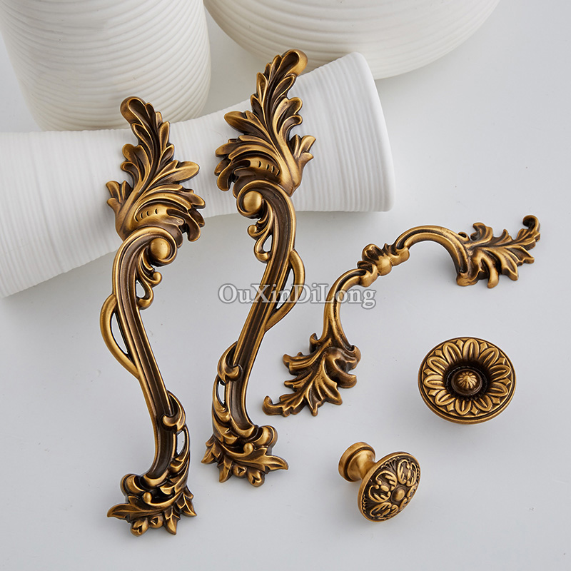 High Quality 10PCS Brass Furniture Handle European Antique Drawer Dresser Wardrobe Cupboard Cabinet Kitchen Pull Handles & Knobs high quality 1pc concise door handle gold hardware kitchen cupboard cabinet handles wardrobe handle drawer pull 96mm 128mm