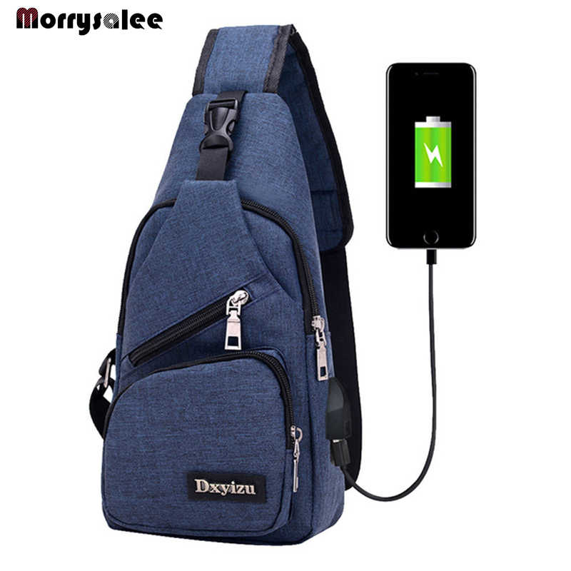 Male Shoulder Bags USB Charging Crossbody Bags Men Chest Bag School Trip Messengers Bag 2018 New Arrival Diagonal Package