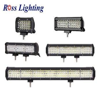 Barra de ledes de cuatro filas, barra de luz LED de 4 / 7 / 12 / 20 / 22 / 36 pulgadas, barra de luz LED de obra para conducción fuera de carretera, barco, Tractor, camión 4x4, SUV ATV de 12V y 24V