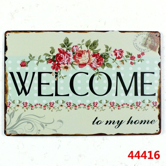Welcome To My Home! Metal Signs Vintage Tin Plate Iron Painting Wall  Decoration For Home