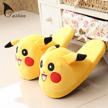 New Style Cartoon Slippers Womens Mens Funny Warm Soft Shoes Flock Pikachu Eevee Snorlax Eevee Charmander Indoor Cute Slippers