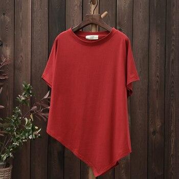 Novelty design O-neck Cotton Women T shirt Plus size Summer Loose Casual T-shirt Solid Asymmetric Original Tee Shirt Tops B150 1