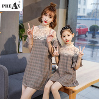 Mother Daughter Lace Dress Spring Summer Summer Family Clothes Kids Dress For Girl Fashion Lotus Leaf