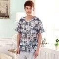 Homem Homens Casual impressão Homewear conjuntos de Pijama de verão O-pescoço Colarinho da camisa & meia calça de Algodão sleepwear Terno 5807