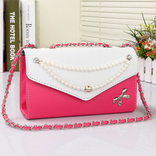 2016 spring women bow should bag pearls chain clutch bag small vintage mini cross-body bag women leather handbag