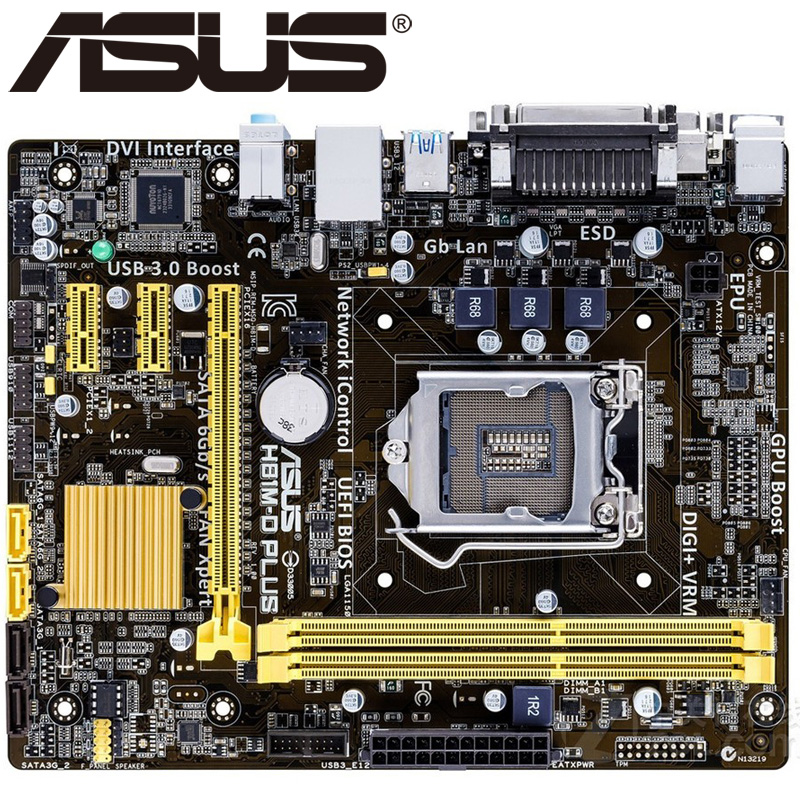 Asus H81M-D PLUS Desktop Motherboard H81 Socket LGA 1150 i3 i5 i7 DDR3 16G Micro-ATX UEFI BIOS Original Used Mainboard Hot Sale asus m4a88t m desktop motherboard 880g socket am3 ddr3 sata ii usb2 0 uatx