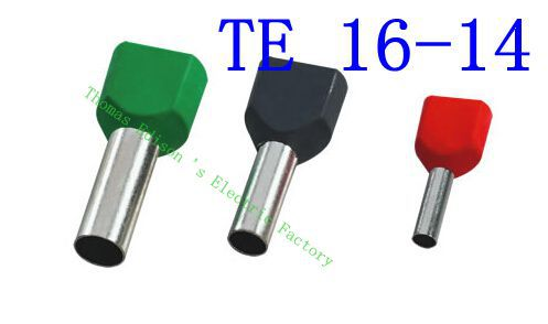 цена на DIANQI TE16-14 Two Pre-insulated Pipe-shaped End Cold pressed terminals/Cable Connector/Wire Connector 1000PCS/Pack