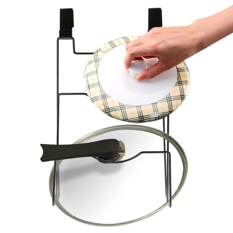 Pot Cover Shelf Cupboard Door Hanging Pan Lid Holder Storage Rack Stove Organizer Stand Qiang