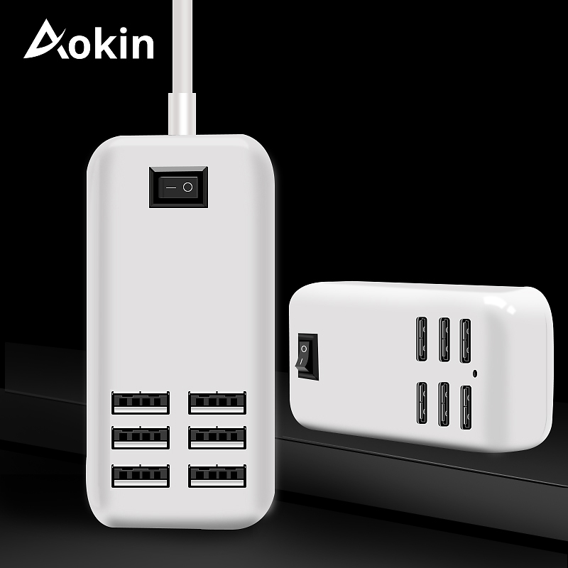 47ba2c2aba2 Aokin 6 puertos USB cargador HUB para iPhone iPad Samsung de carga múltiple  pared 5 V/4A Reino Unido UE nos adaptador de enchufe cargador usb múltiple