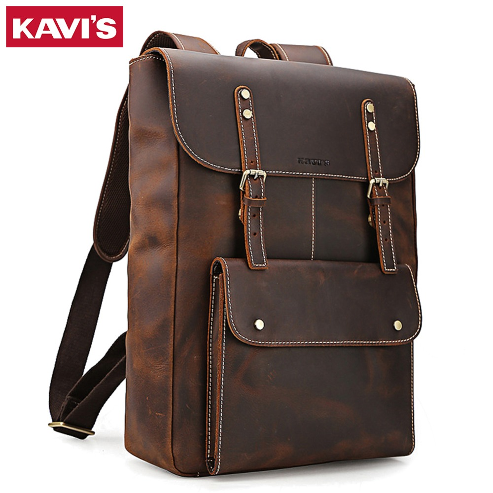 KAVIS 100% véritable cuir Crazy Horse hommes sac à dos grande capacité pour voyage décontracté cartable sac pour ordinateur portable grand