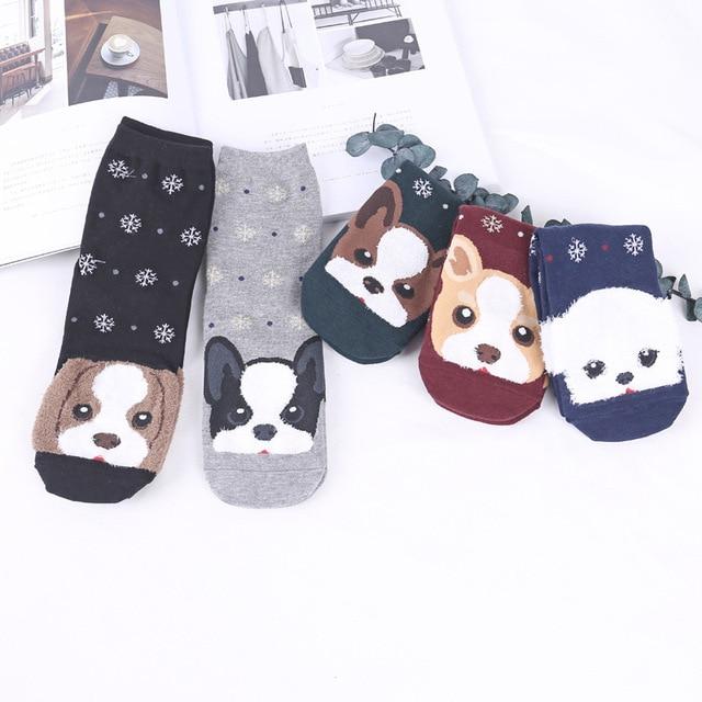 Cute Dog Patterned Cotton Short Socks Women Cartoon Pug Funny Ankle Socks FemaleWinter Animal Socks Kawaii Socks Hipster Sox