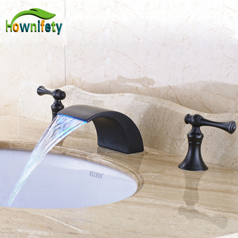Solid Brass Oil Rubbed Bronze Widespread 3pcs LED Waterfall Spout Bathroom Sink Faucet Double Handles Mixer Tap