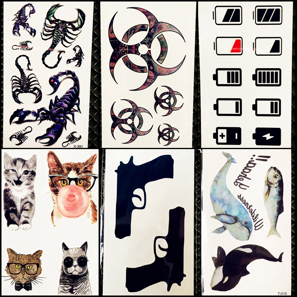 25 Style Men Tattoo Stickers Totem Scorpion Black Gun Hands Temporary Tattoo Kids Body Art Face Self Adhesive Tatoos Cool Paste