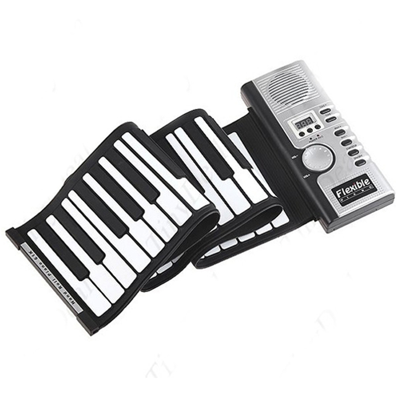 New Portable Roll-Up <font><b>Flexible</b></font> Full 61 Soft Responsive Keys Synthesizer Electronic Piano <font><b>Keyboard</b></font> Built-in Speaker