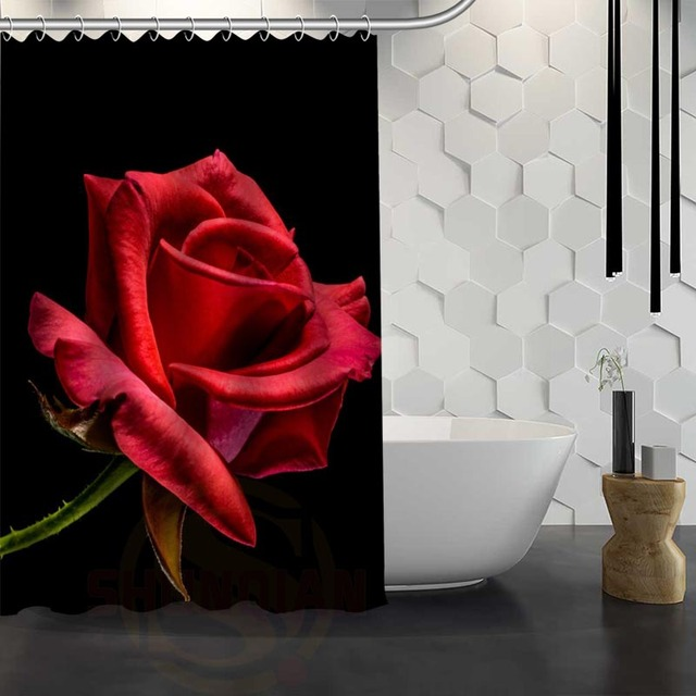 Hot Sale Custom Flowers Rose Red Shower Curtain Waterproof Fabric For Bathroom F