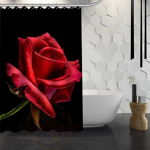 Vente chaude Personnalisé Fleurs Rose Rouge Rideau De Douche Tissu ...