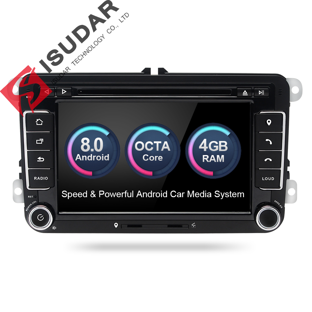 Isudar Car Multimedia player 2 Din Car Radio GPS Android 8.0 Autoradio For VW/Volkswagen/POLO/Golf/Skoda/Octavia/Seat/Leon DSP