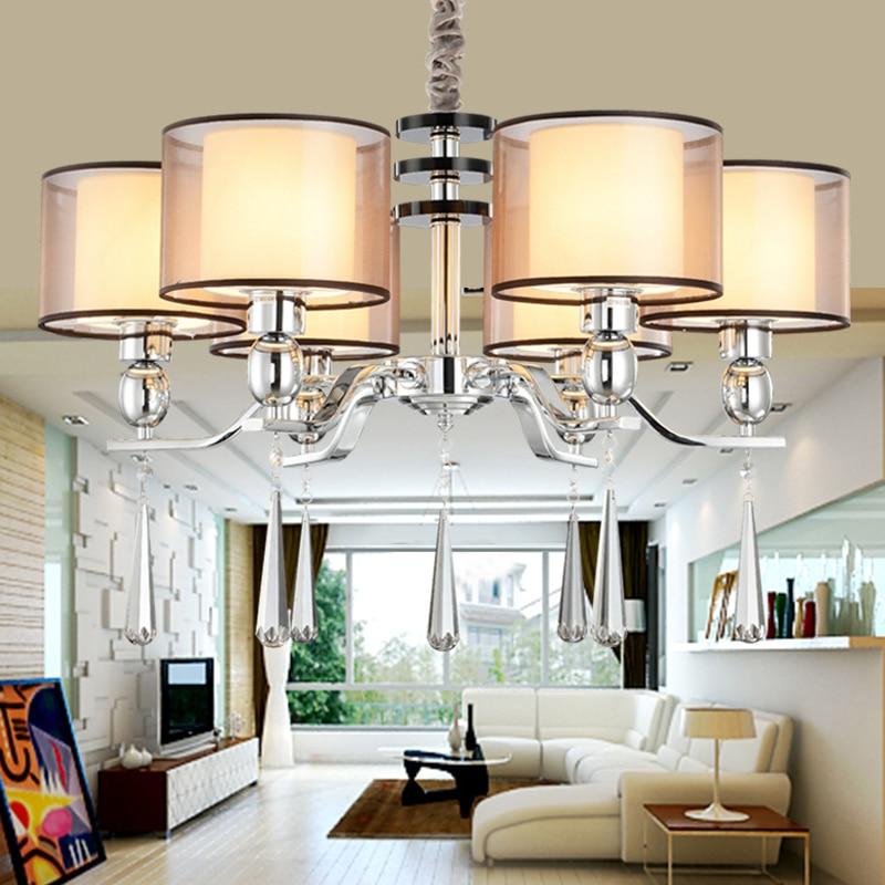 Chandelier Modern Lighting Fabric Lampshade Dinning Room Modern Crystal Chandelier Light High Quality Metal Paint Lamp