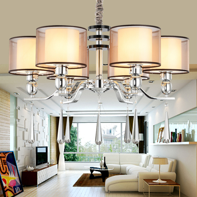 Chandelier modern lighting fabric lampshade dinning room modern crystal chandelier light high quality metal paint lamp in chandeliers from lights chandelier modern lighting fabric lampshade dinning room modern crystal chandelier light high quality metal p Gallery