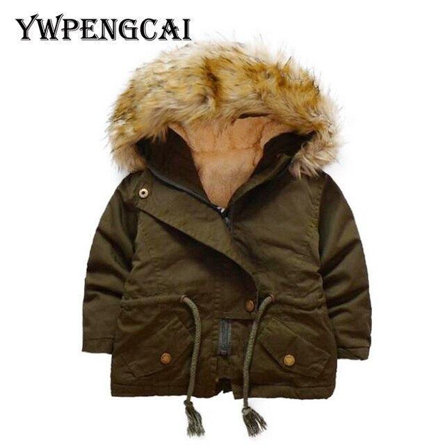 8041bbb0d0f4 YWPENGCAI Winter Kids Army Green Fur Hood Waist Jacket Thick Warm ...