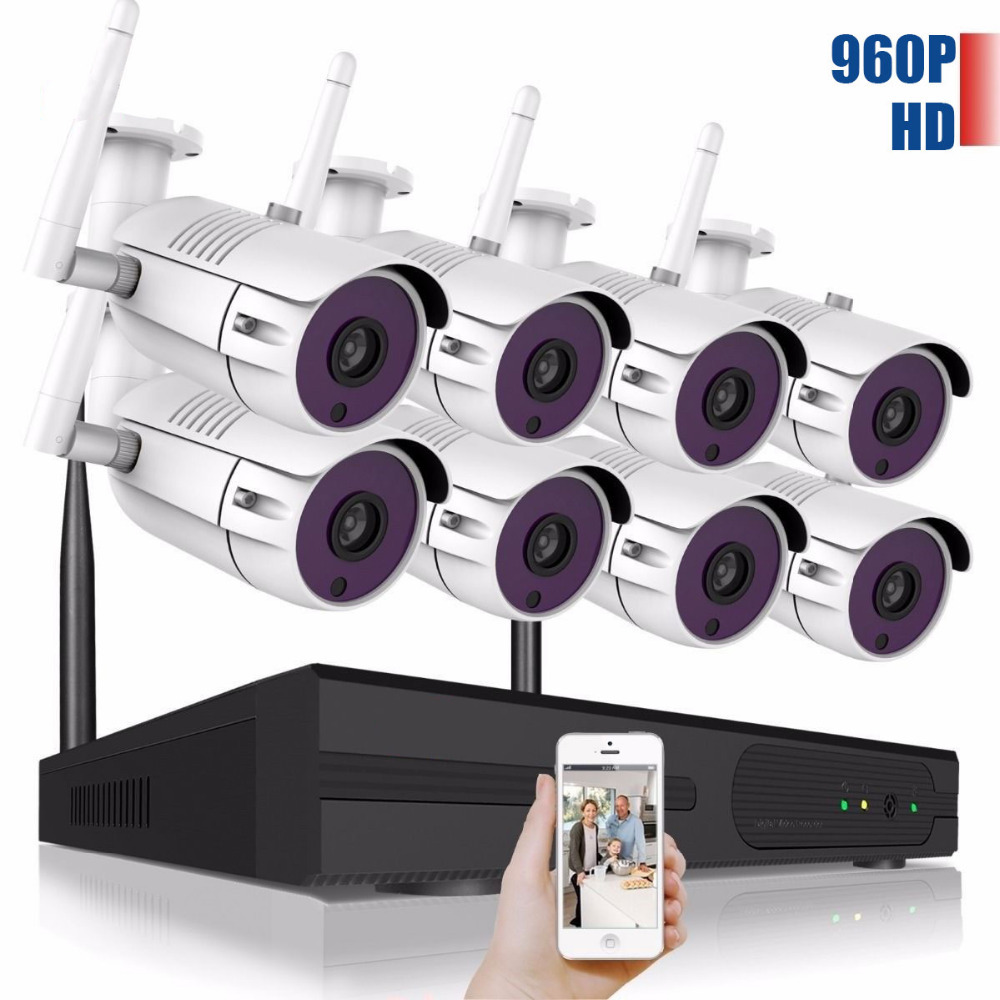8CH CCTV System 960P NVR 8PCS 1.3 MP IR Outdoor P2P Wireless Wifi IP CCTV Camera Security System Surveillance Kit