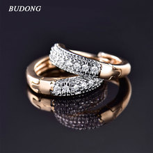 BUDONG Fashion Earring Jewelry for Women Silver/Gold-Color Hoop Earring with Stone CZ Zircon Crystal Loop Wedding Earing XUE114