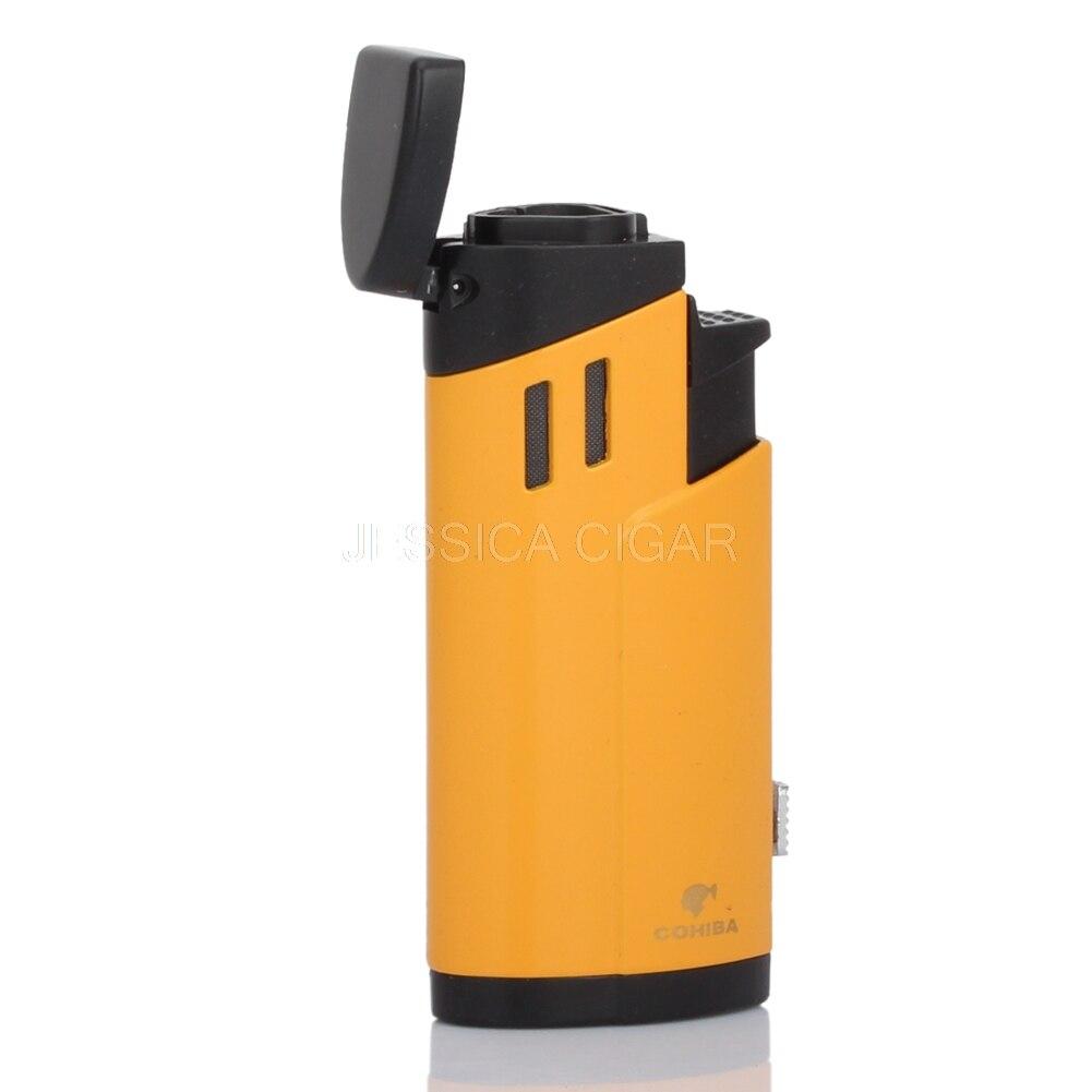 COHIBA Classic Для мужчин металла для зажигалки ветрозащитный 3 Факел сигары прикуривателя Бутан Fire Starter с сигарой перфоратор