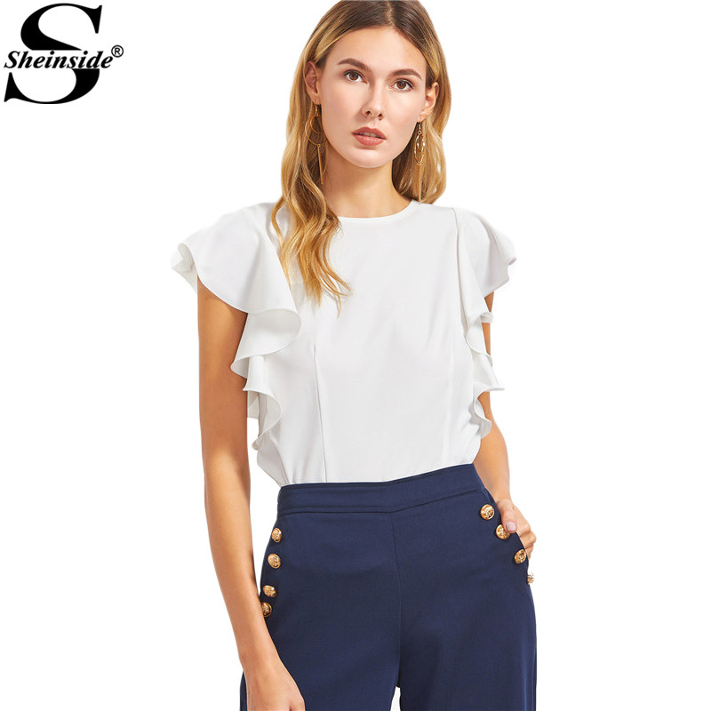 Sheinside Ruffle Sleeve Blouses Women White O Neck Elegant Summer Tops 2017 New Fashion Slim OL Clothing Brief Casual Blouse
